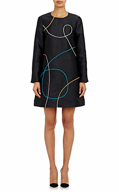 Lisa Perry Piped-Scribble Dress