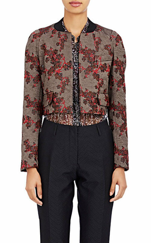 Dries Van Noten Cherry-Blossom Jacquard Bomber Jacket