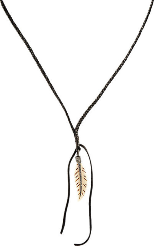 Feathered Soul Feather Pendant On Braided Cord
