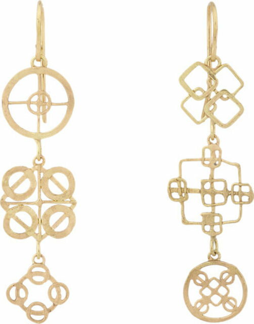 Judy Geib Gold Wheel Triple-Drop Earrings
