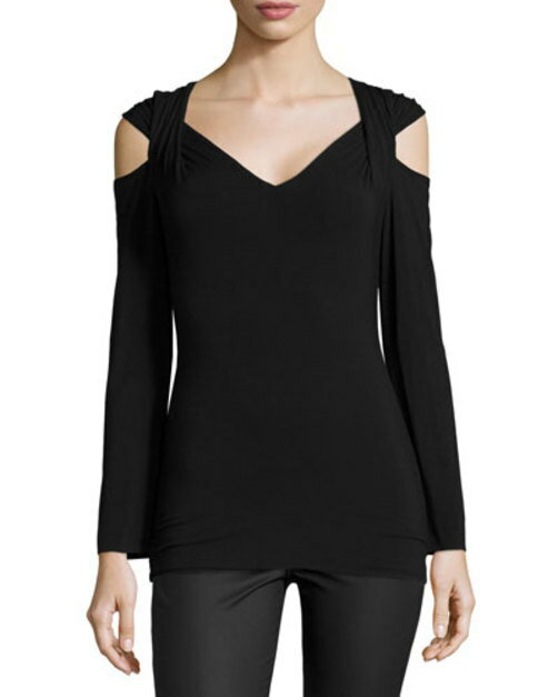 Garbo Long-Sleeve Cold-Shoulder Top, Black