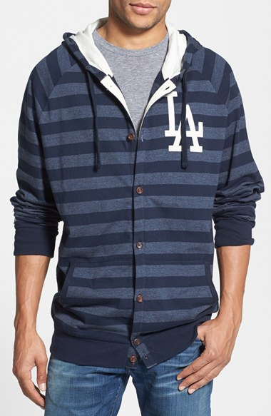 Mitchell & Ness 'Dodgers' Stripe Button Front Jersey Hoodie 男性 メンズ セーター ニット