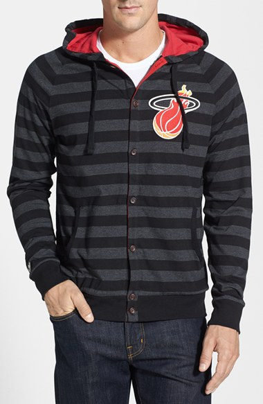Mitchell & Ness 'Miami Heat' Stripe Button Front Jersey Hoodie 男性 メンズ セーター ニット