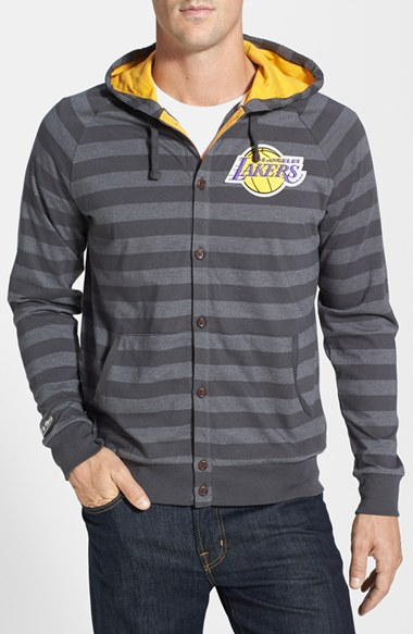 Mitchell & Ness 'Los Angeles Lakers' Stripe Button Front Jersey Hoodie 男性 メンズ セーター ニット