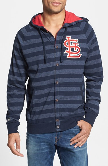 Mitchell & Ness 'Cardinals' Stripe Button Front Jersey Hoodie 男性 メンズ セーター ニット