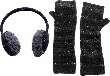 ムクルク MUK LUKS Solid Sprinkled Ear Muffs & Armwarmers Set - Black 帽子 キャップ