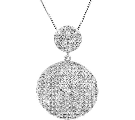 Moise Sterling Silver Cascading Cubic Zircona Necklace - White Silver スカーフ