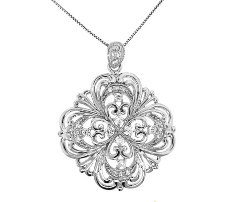 Moise Sterling Silver Clear Cubic Zirconia Necklace - White Silver スカーフ
