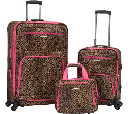 Rockland 3 Piece Pasadena Expandable Spinner Set F228 - Pink Leopard バッグ 鞄 かばん
