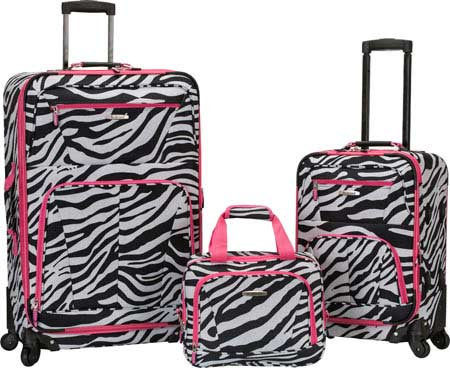 Rockland 3 Piece Pasadena Expandable Spinner Set F228 - Pink Zebra バッグ 鞄 かばん