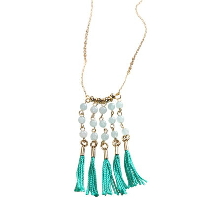 ジェレニアム Geranium Fringe Necklace with Stone and Tassels JN4243 - Jade Green スカーフ