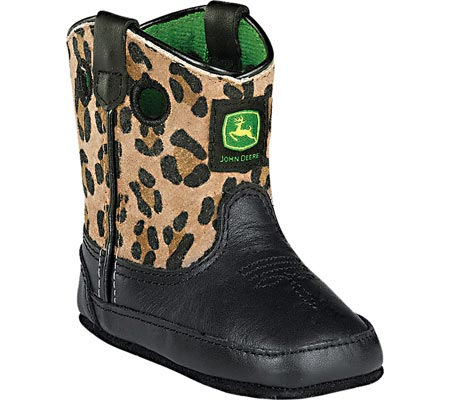 ジョンディアブーツ John Deere Boots Broad Square Toe Pull-On 0310 - Black Leather Leopard 子供 キッズ シューズ 靴