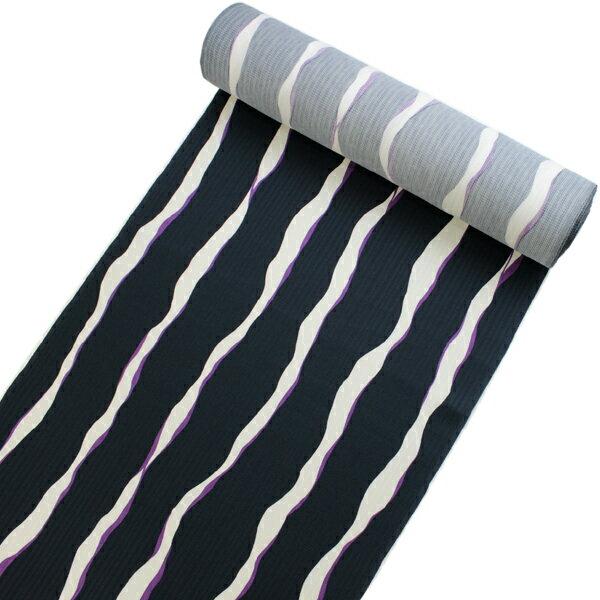 正絹小紋着物反物 丹後ちりめん フルオーダー仕立て付き 紺地白と紫のよろけ縞 単品 女性 レディース 袷にも単衣にもお仕立て可能 縮緬着尺 こもん 送料無料 《urウフ》