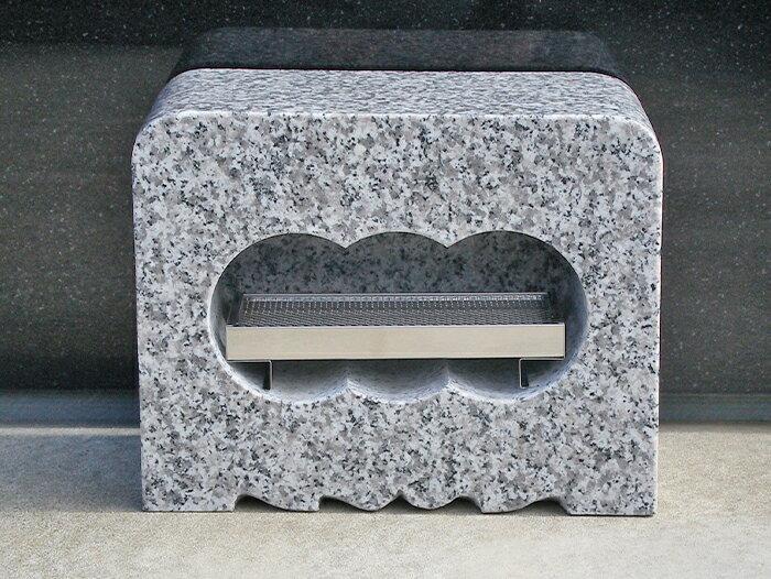 お墓 香炉 角香炉 白御影石(G623) みかげいし ステンレス線香皿付き〔本州限定価格13,200円〕※北海道・離島の価格はお問い合わせにてお見積り致します。