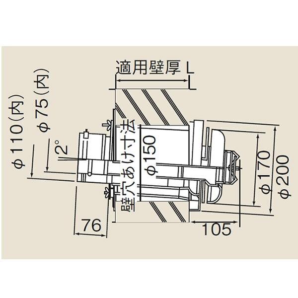 リンナイ φ110×φ75給排気部材 FF 2重管用【TFW-110-75C-200】給排気トップ(21-3803)【TFW11075C200】[新品]【RCP】