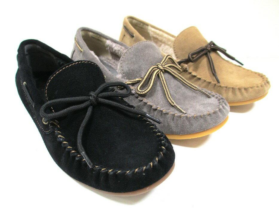 [ビス]【履くほどに愛着が湧く、手放せない1足になりそう。】ViS vis 2208 レディース 革靴 モカシン カジュアルシューズ ボアシューズ 仕事靴 暖か ブラックS・グレーS・ベージュS