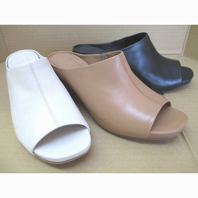 [イング]【流行に囚われないブランド!!ING 店頭で売れてます】ING ing 0600 レディース ミュール  通勤靴 仕事靴 ブラック・ベージュ(キャメル)・アイボリー