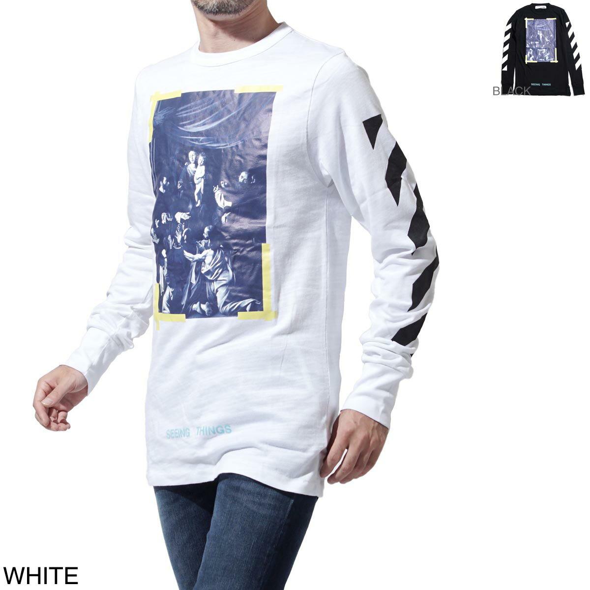 オフホワイト Off-White クルーネック 長袖 Tシャツ メンズ カットソー カジュアル プリント デザイン omab001f17185016 110 DIAG CARAVAGGIO TEE LS【あす楽対応_関東】【ラッピング無料】【返品送料無料】