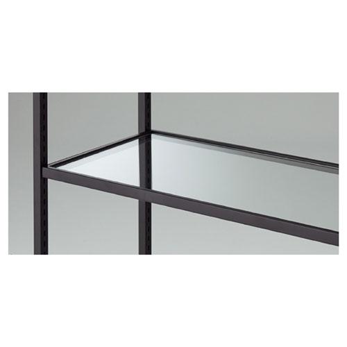 ガラス棚セット W90cmタイプ スチール枠 ブラック【店舗什器 パネル ディスプレー 棚 店舗備品】
