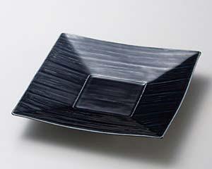 【まとめ買い10個セット品】和食器 ツ184-026 藍釉 四角皿 【キャンセル/返品不可】