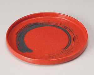 【まとめ買い10個セット品】和食器 キ202-056 ゆず赤結晶黒刷毛切立7.0丸皿 【キャンセル/返品不可】