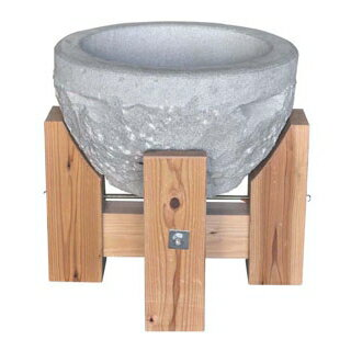 【 業務用 】石うす 2升用 木製台付【 メーカー直送/代金引換決済不可 】