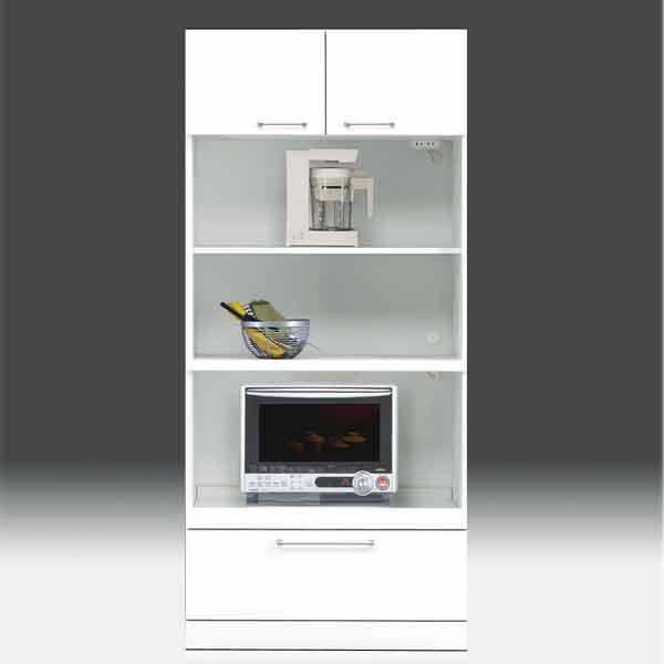 レンジ台  白家具 幅80cm 高さ180cm モイス付き【日本製 一本立ち完成品】  GOK 食器棚 レンジボード キッチンボード aic-cristal70tphl
