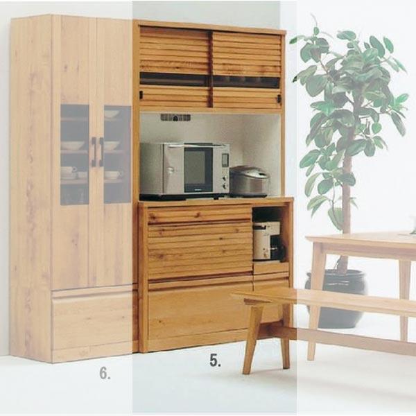 天然木 ホワイトオークの落ち着いた スライド 食器棚 キッチンボード オープン 幅120cm SOK【さらに表示価格より2%off】 【ws】【OK】