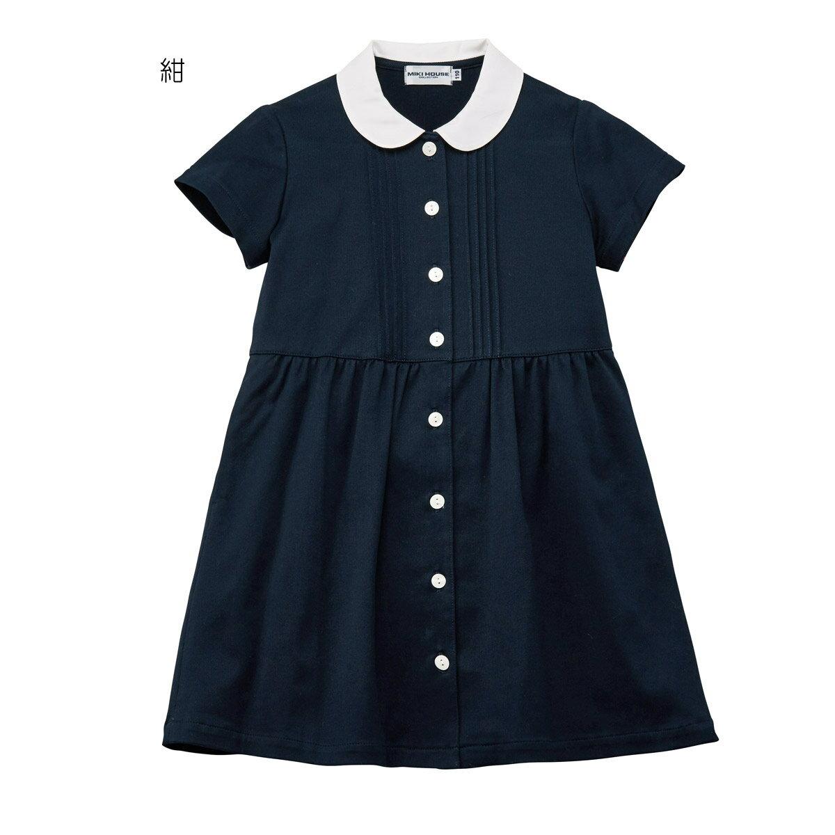 公式ショップ【ミキハウス(フォーマル)】丸襟半袖ワンピース(100cm・110cm)