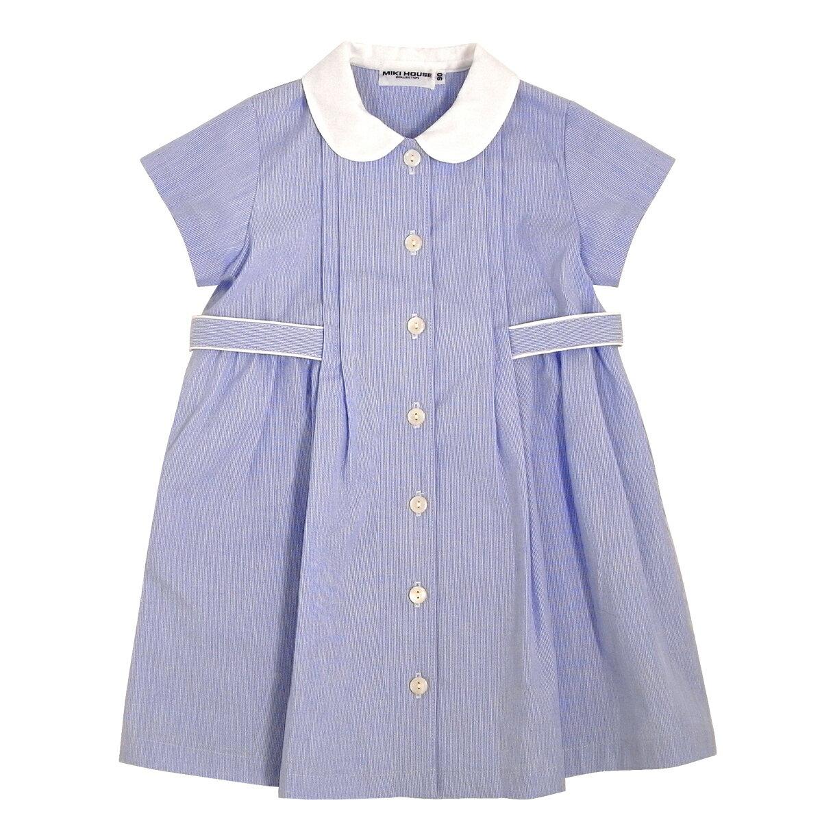 公式ショップ【ミキハウス(フォーマル)】ブルーの丸襟半袖ワンピース(120cm・130cm)
