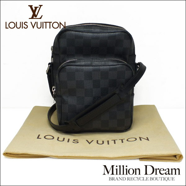 LOUIS VUITTON ルイヴィトンダミエ グラフィット ブラック 黒レム M41446ショルダーバッグ美品 送料無料 【中古】