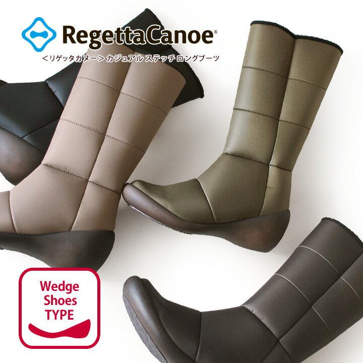 Free RegettaCanoe-リゲッタカヌー-CJWS-6712 ウェッジシューズ カジュアルステッチロングブーツ