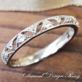 K10ホワイトゴールドクラシカルレースダイヤモンドリング