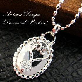 K10ホワイトゴールドアンティ-クデザインダイヤモンドペンダント