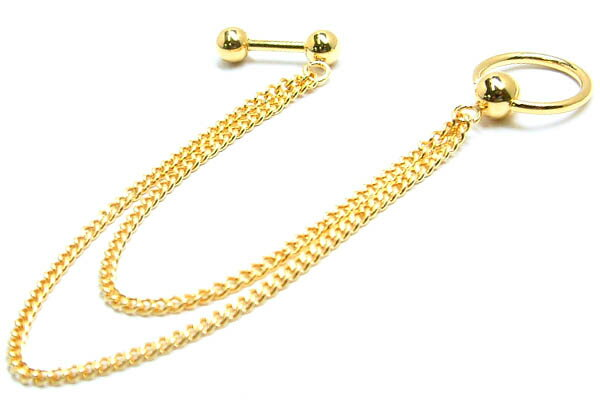 [ 14G 金メッキ ] ダブル ゴールドチェーン ボディピアス キャプティブビーズリング x ストレートバーベル 14ゲージ ボディーピアス メンズ レディース 軟骨 耳 鼻 口 乳首 チェーンピアス サージカルステンレス316L つなぐ インダストリアル 繋ぐ 金色 リング型
