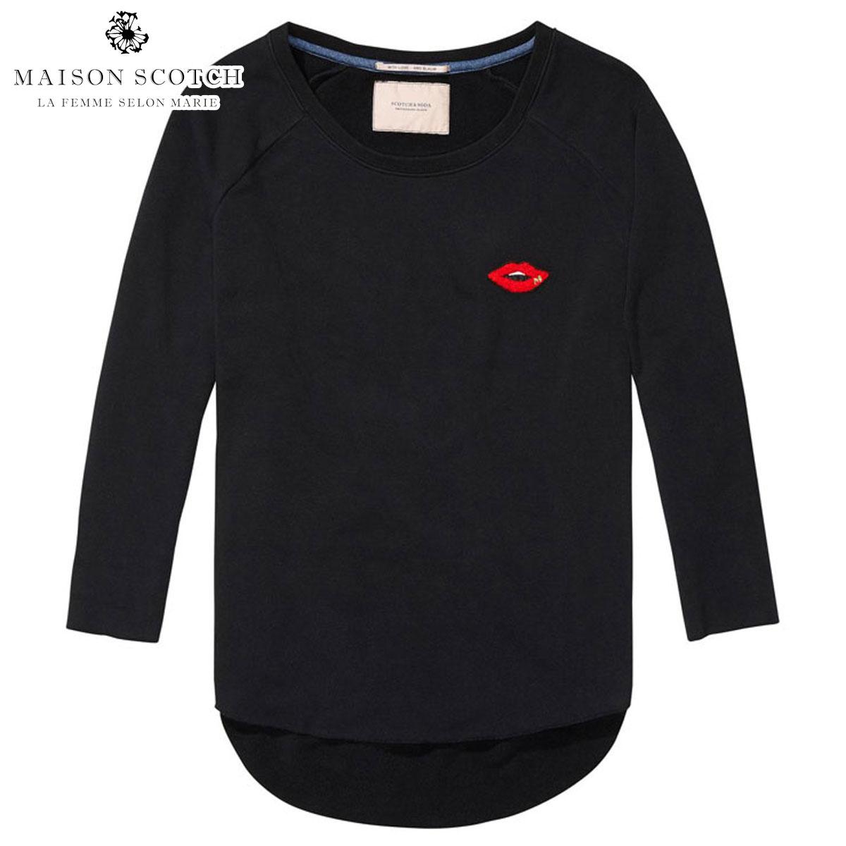 メゾンスコッチ MAISON SCOTCH 正規販売店 レディース 七分袖Tシャツ UNEVEN HEM SWEATER 134822 8 BLACK