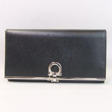 【質屋出店】フェラガモ ガンチーニ 224633 シルバー金具 2つ折財布【中古】