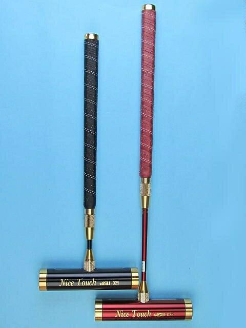 ゲートボールスティック 伸縮タイプ 45×200アルミヘッド・牛革巻き両扁平グリップ中間ロック式スライド型シャフト ゲートボール用品