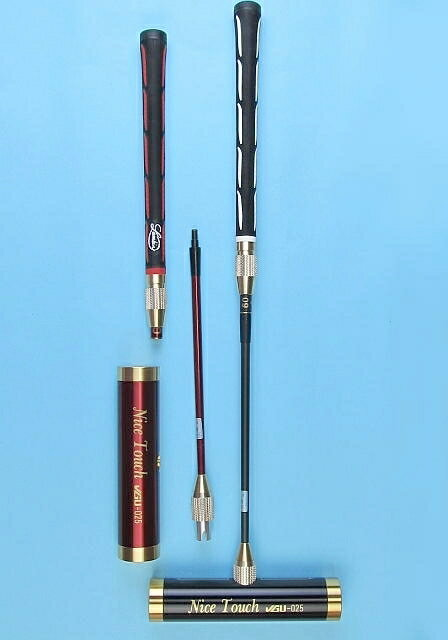 ゲートボールスティック 伸縮コンパクトタイプ 45×200アルミヘッド・丸ゴムグリップ中間ロック式スライド型コンパクトシャフト ゲートボール用品