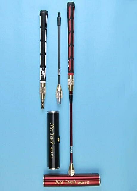 ゲートボールスティック 伸縮コンパクトタイプ 45×200ステンレスヘッド・丸ゴムグリップ中間ロック式スライド型コンパクトシャフト ゲートボール用品