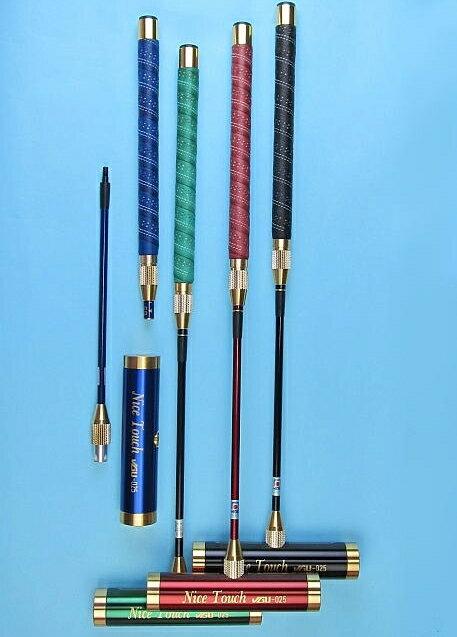 ゲートボールスティック 伸縮コンパクトタイプ 45×200アルミヘッド・牛革巻き丸グリップ中間ロック式スライド型コンパクトシャフト ゲートボール用品