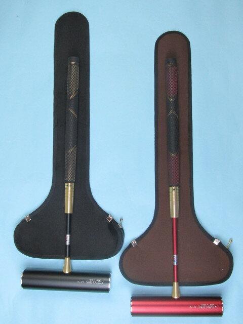 ゲートボールスティックセット 伸縮タイプケース付き 45×200ジュラルミン固定ヘッド・丸ゴムグリップ回転式スライド型シャフト RO-9A5 ゲートボール用品