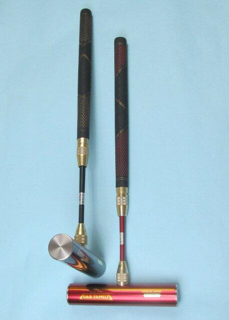 ゲートボールスティック 伸縮タイプ ステンレスヘッド40×200・丸ゴムグリップ中間ロック式スライド型シャフト ゲートボール用品
