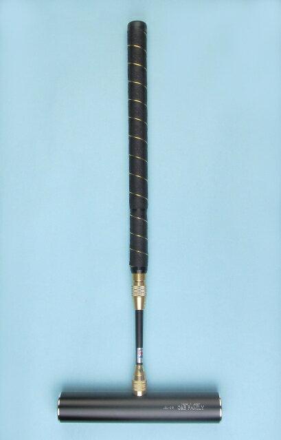 ゲートボールスティック 伸縮タイプ 45×240ジュラルミンヘッド・レザー巻き太丸グリップ中間ロック式スライド型シャフト ゲートボール用品