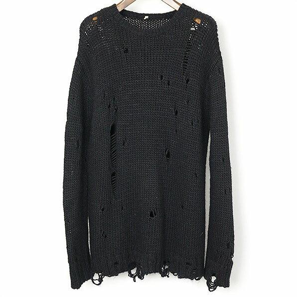 激安 R13 アールサーティーン 16AW ダメージチャンキーセーター ブラック 【中古】