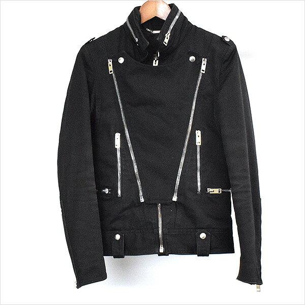Dior HOMME ディオールオム 04AW VICTIM期 中綿入りコットンライダースジャケット ブラック 44【中古】