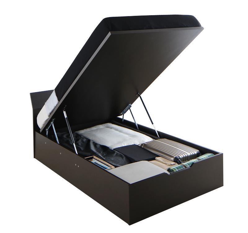 モダンデザイン_ガス圧式大容量跳ね上げベッド Criteria クリテリア ポケットコイルマットレスハード付き 縦開き セミダブル レギュラー