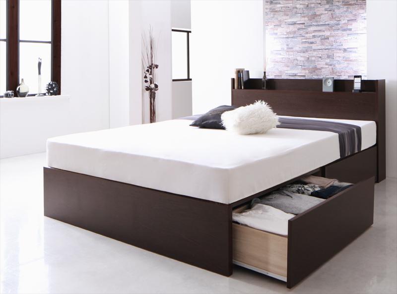 国産 棚・コンセント付き収納ベッド Fleder フレーダー デュラテクノスプリングマットレス付き 床板仕様 シングル