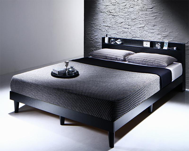 棚・コンセント付きデザインすのこベッド Morgent モーゲント マルチラススーパースプリングマットレス付き ダブル