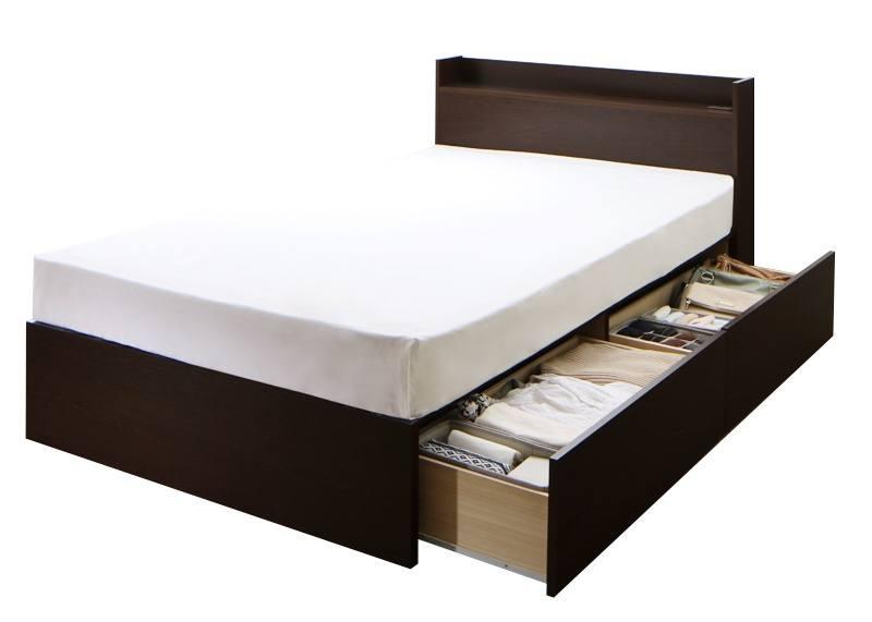 組立設置 連結 棚・コンセント付収納ベッド Ernesti エルネスティ ポケットコイルマットレスレギュラー付き 床板 Aタイプ セミダブル